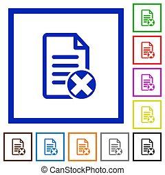Cancel document flat framed icons