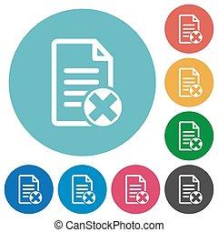 Cancel document flat round icons