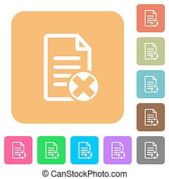 Cancel document rounded square flat icons