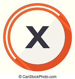 Cancel flat design vector web icon. Round orange internet button isolated on white background.