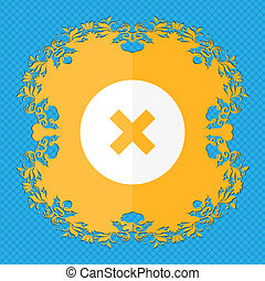 cancel . Floral flat design on a blue abstract background with place for your text.