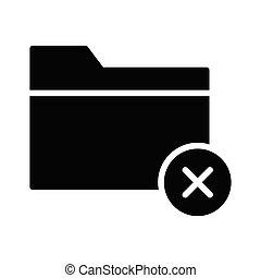 cancel folder glyph flat vector icon