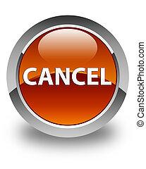 Cancel glossy brown round button