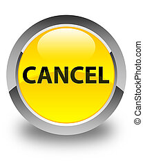 Cancel glossy yellow round button