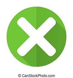 cancel green flat icon x sign