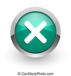 cancel green glossy web icon