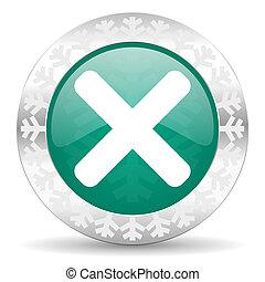 cancel green icon, christmas button, x sign