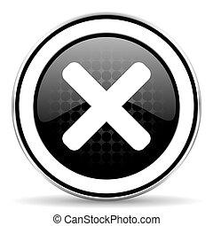 cancel icon, black chrome button, x sign