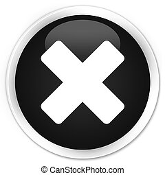 Cancel icon black glossy round button