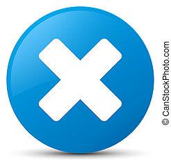 Cancel icon cyan blue round button