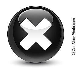 Cancel icon glassy black round button