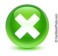 Cancel icon glassy green round button