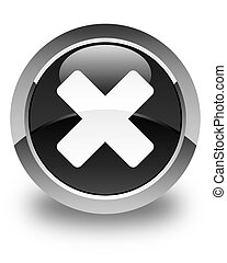Cancel icon glossy black round button
