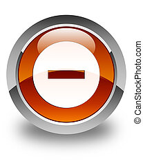 Cancel icon glossy brown round button