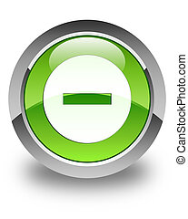 Cancel icon glossy green round button 2