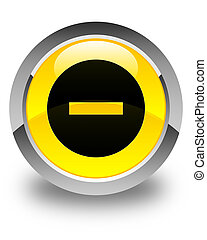 Cancel icon glossy yellow round button