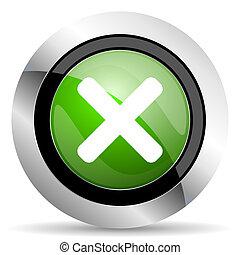cancel icon, green button, x sign