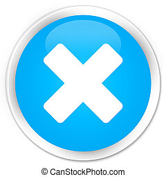 Cancel icon premium cyan blue round button