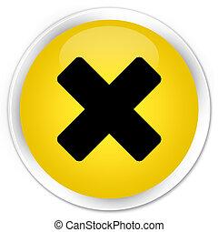 Cancel icon premium yellow round button