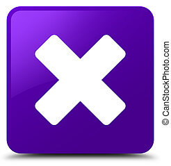 Cancel icon purple square button