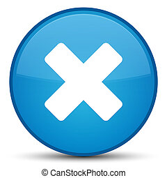 Cancel icon special cyan blue round button