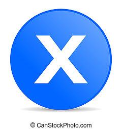 cancel internet blue icon