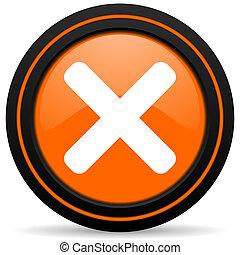 cancel orange glossy web icon on white background