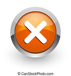 cancel orange glossy web icon
