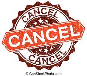 cancel orange round grunge stamp on white