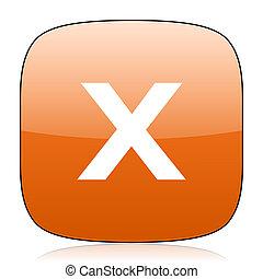 cancel orange square web design glossy icon