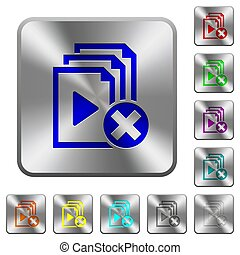 Cancel playlist rounded square steel buttons