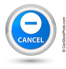 Cancel prime cyan blue round button