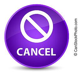 Cancel (prohibition sign icon) elegant purple round button