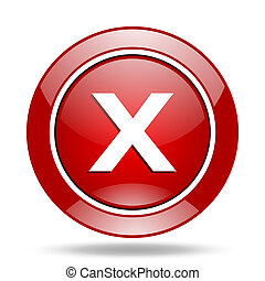 cancel red web glossy round icon