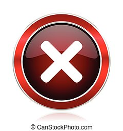 Cancel red web vector icon. Metal shine silver chrome border round button isolated on white background. Circle modern design abstract sign for smartphone applications.