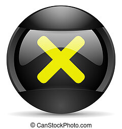 cancel round black web icon on white background