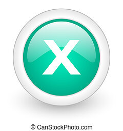 cancel round glossy web icon on white background