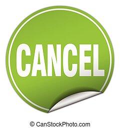 cancel round green sticker isolated on white
