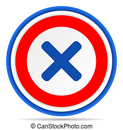 Cancel round icon, red, blue and white french design illustration for web, internet and mobile applications