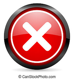 cancel round red glossy icon on white background
