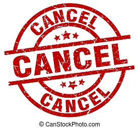 cancel round red grunge stamp