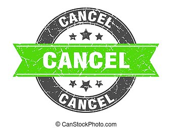 cancel round stamp with green ribbon. cancel