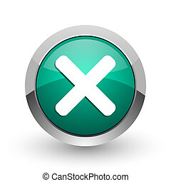 Cancel silver metallic chrome web design green round internet icon with shadow on white background.