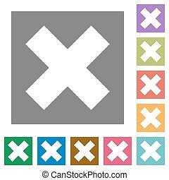 Cancel square flat icons