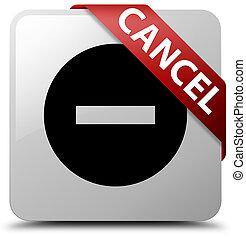 Cancel white square button red ribbon in corner