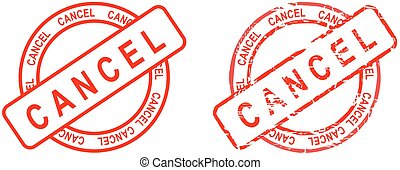cancel word circle red stamp