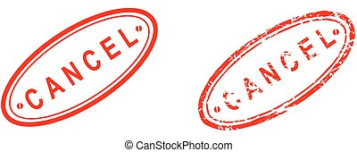 cancel word red stamp