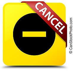 Cancel yellow square button red ribbon in corner