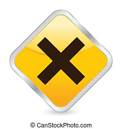 cancel yellow square icon