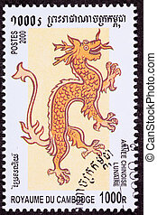 cancelado, camboyano, franqueo, chino, año del dragón, 2000,...